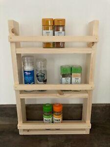 Three Tier Wooden Spice Herb Rack, Kitchen Storage Jar Holder