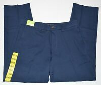 Haggar in Motion Flat Front Straight Fit Men's Blue Pants NEW
