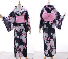 K-033 blau pink Sakura Blumen Goldfisch Original Japan Kimono YUKATA OBI Gürtel
