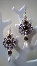 Ohrringe 925 Silber Handarbeit-Edelsteine Granat ,Koralle, Weiß,Silber,Elegant