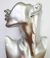 Sexy White Marbled Disc Dangle Drop Earrings in Gold Tone 12.5 cms Long