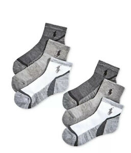 Polo Ralph Lauren Toddler/Little/Big Boy's 6-Pairs Polo Ankle Socks
