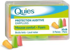 4 X QUIES PROTECTION AUDITIVE EARPLUGS FOAM - 3 PAIRS