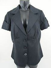"Lane Bryant Size 14 Blazer Jacket Short Sleeve Black Pinstripe 39"" Bust EXCELENT"