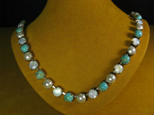 MARIANA NECKLACE SWAROVSKI CRYSTALS TURQUOISE PEARL SHELL SS PL Gift
