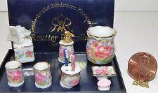 Dollhouse Miniature Soap Trash Tissue Box Set Dresden Rose Reutter Porcelain
