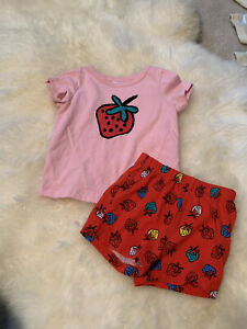 Hanna Andersson red strawberry shorts and pink t-shirt size 75