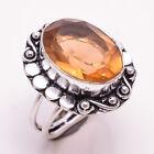 925 Sterling Silver Overlay Ring US Size 5.5, Citrine Gemstone Jewelry PR522
