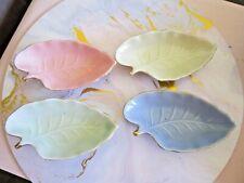 Vintage Retro Set 4 Pastel Harlequin Leaf Dishes Made in Japan.