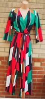 I-X LONDON MULTI COLOUR ABSTRACT ART BELTED STRIPE PALAZZO FLARE JUMPSUIT 6