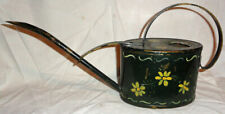 Vintage Antique Brass Watering Can Painted green & flowers primitive Vg