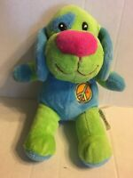 "Dan Dee Green And Blue Peace Sign Puppy Dog 10"" Plush Stuffed Animal"