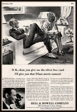 1936 AD BELL AND HOWELL FILMO MOVIE CAMERA DOUBLE  8 SMALLEST CARTOON ART BAER
