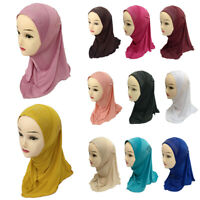 Kids Girls Flower Hijab Caps Muslim Scarf Shawls Islamic Hats Underscarf Arab