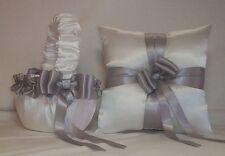 WHITE SATIN /  SILVER TRIM FLOWER GIRL BASKET & RING BEARER PILLOW #5