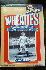 Vintage Wheaties Sealed BABE RUTH 60 Years of Sports Heritage Collectors Edition