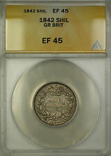 1842 Great Britain Silver Shilling Coin ANACS EF-45