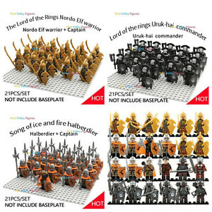 21pcs Elf Orc Gondor Army Lord of The Rings Figure for Lego Military Minifigure