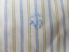 Brooks Brothers NON IRON Blue Yellow Stripe GOLDEN FLEECE LOGO Button Up Shirt M