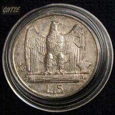 *GUTSE* ITALIA, VITTORIO EMANUELE III, 5 LIRAS 1927 R, PLATA, EBC+
