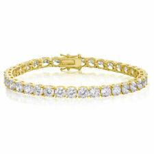 Mens Womens 14k Gold Plated Row Cubic Zirconia Tennis Bracelet 8 Inch
