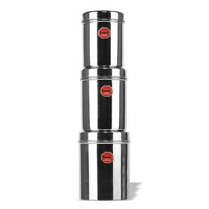 Stainless Steel Vertical Canisters Storage Containers Set of 3 Pcs