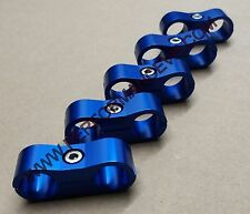 5PC BLUE 6AN AN6 AN -6 Billet Oil Fuel Water Line Hose Separator Clamp Mount