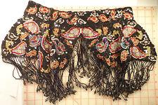 Large colorful shawl collar beaded fringe paisley design black red white gold