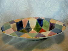 Tabletops Unlimited Carnival Diamond Lg.Rimmed Pasta Serving Bowl- Hand Painted