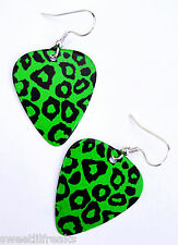 GREEN LEOPARD PRINT GUITAR PICK EARRINGS! PSYCHOBILLY PUNK DERBY GOTHIC ZOMBIE