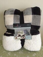 Cuddl Duds Cozy Sherpa Throw Blanket Black White Check Plaid