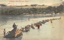 NATAL SOUTH AFRICA CROSSING A RIVER STAMP TO USA POSTCARD 1907