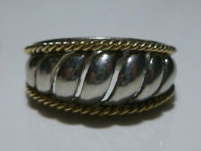 DESIGNER SIGNED STERLING SILVER 14K GOLD WOMENS MODERN MODERNIST RING BAND