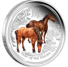 1 Oz Silber BU Lunar II Pferd Horse coloured farbig Australien 2014 Australia