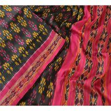 Sanskriti Vintage Indian Saree Woven Patola Sari Fabric Pure Silk Soft Black