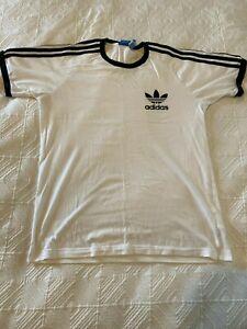 Adidas 3 Stripes & Logo T-Shirt - White/Black - Large Mens