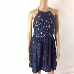 City Triangles F5 Womens Dress Lace Overlay Short Halter Neck Navy Blue Size M/L