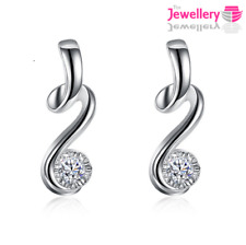 925 Sterling Silver Twisted 3mm Crystal Stud Earrings CZ Cubic Zirconia Ladies