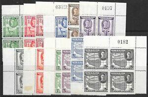 SOMALILAND SG93/104 1938 DEFINITIVE SET CNR BLOCKS OF 4 MNH