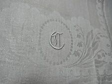 """VINTAGE DAMASK  LILY OF VALLEY MONOGRAMMED C LINEN HUCK GUEST TOWEL 30"""" CLEAN"""