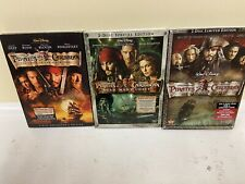Pirates of the Caribbean Movies 1, 2, 3 Dvd Lot Collection