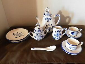 Delton Products Miniature Tea Set - Blue & White (replacement pieces, if needed)