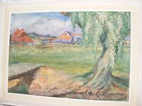 ANTIQUE VINTAGE OIL PAINTING BY HERBERT SARTELLE LANDSCAPE AMERICAN ARTIST BARN