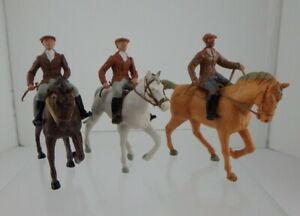 3 Vintage Britains Herald Equestrian Gentleman Riders 1950s 60s and 70s versions