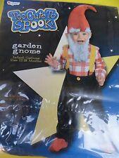 Garden Gnome Too Cute to Spook Elf Halloween Costume Toddler 12-18 mos(boys)
