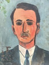 Très Belle Peinture Raphaël Arnal 1949 Portrait Père Huile Panneau Carton Hsp