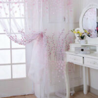 1PC Grommet Voile Sheer Floral Tulle Window Curtain Door Curtain Drape Panel