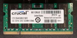 CRUCIAL 1x 4GB / 4096MB DDR2 Laptop PC2-6400 SO-DIMM 800 MHz CT51264AC800/C16FC