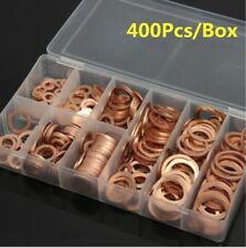 400x Solid Copper Washer M6-M22 Flat Ring Sump Plug Oil Seal Assorted w/box