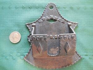 "Old cast iron wall match holder embossed ""C. PARKER MAY 3, 1870 OCT. 6, 1868"""